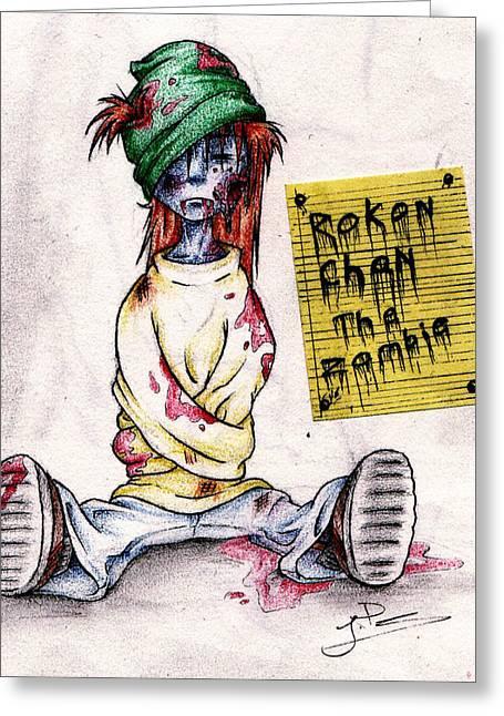 Rokon Chan Greeting Cards - Rokon Chan the Zombie Greeting Card by Rokon Chan