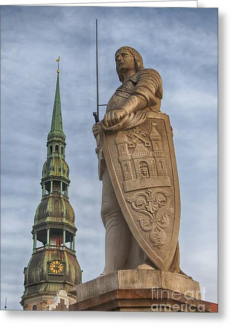 Town Square Greeting Cards - Roland of Riga Greeting Card by Antony McAulay