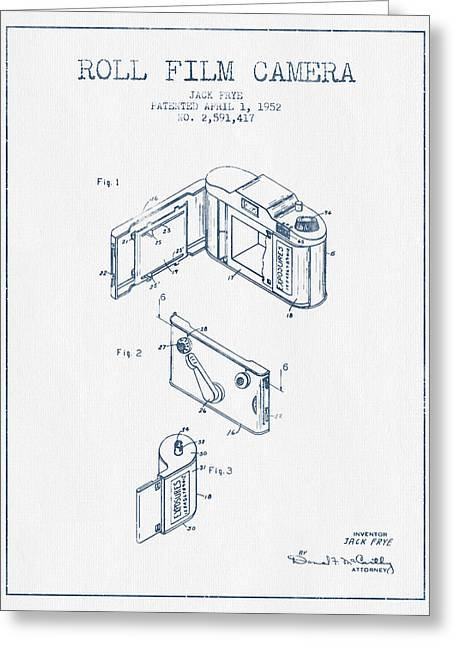 Famous Photographers Greeting Cards - Roll film camera patent from 1952- Blue Ink Greeting Card by Aged Pixel