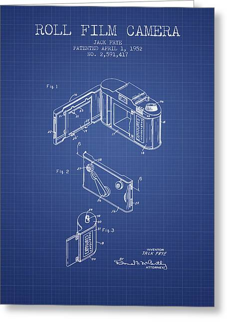 Camera Greeting Cards - Roll Film Camera Patent From 1952 - Blueprint Greeting Card by Aged Pixel