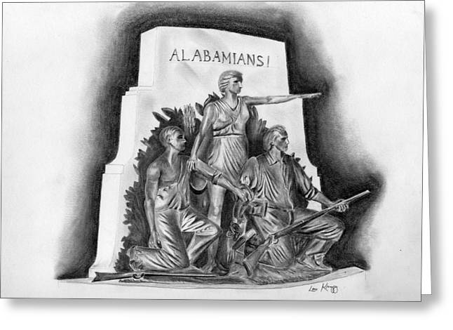 Alabama Drawings Greeting Cards - Roll Tide Alabama Monument at Gettysburg Greeting Card by Lou Knapp