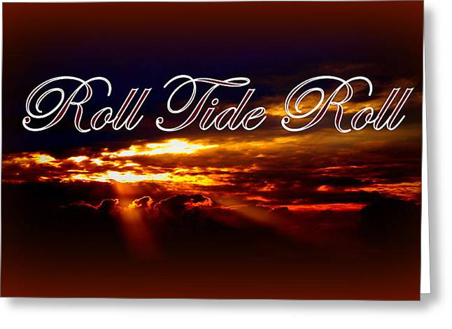 Alabama Football Greeting Cards - Roll Tide Roll w Red Border - Alabama Greeting Card by Travis Truelove
