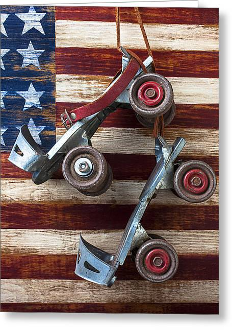 Old Skates Photographs Greeting Cards - Rollar skates with wooden flag Greeting Card by Garry Gay