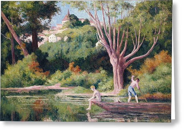 Pastimes Greeting Cards - Rolleboise   Bathing Greeting Card by Maximilien Luce