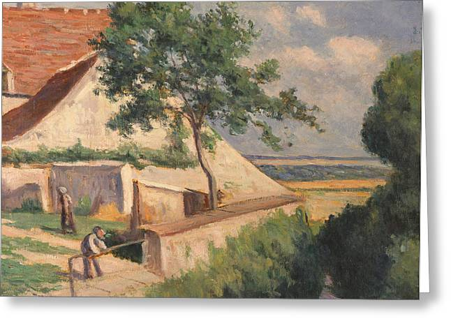 Maison Greeting Cards - Rolleboise   Behind the Church Greeting Card by Maximilien Luce