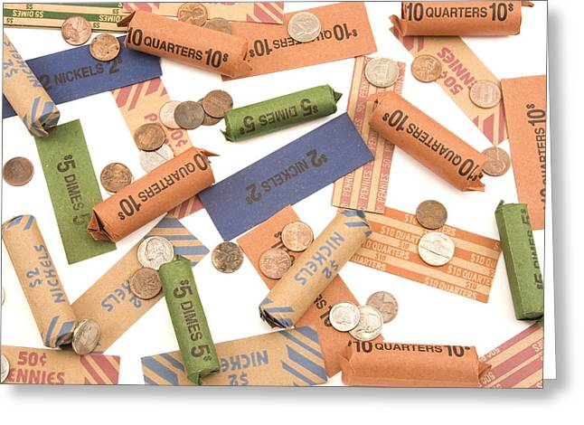 Coins Greeting Cards - Rolled Coins On White Background Greeting Card by Keith Webber Jr