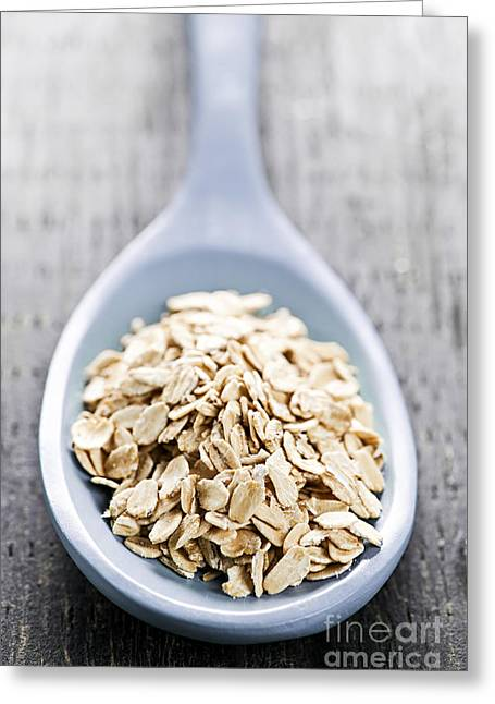 Oatmeal Greeting Cards - Rolled oats Greeting Card by Elena Elisseeva
