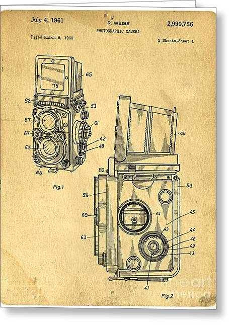 Textured Drawings Greeting Cards - Rolleiflex medium format twin lens reflex TLR patent Greeting Card by Edward Fielding