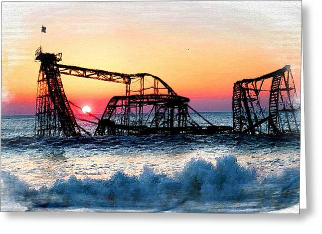 Floods Mixed Media Greeting Cards - Roller Coaster After Sandy Greeting Card by Tony Rubino