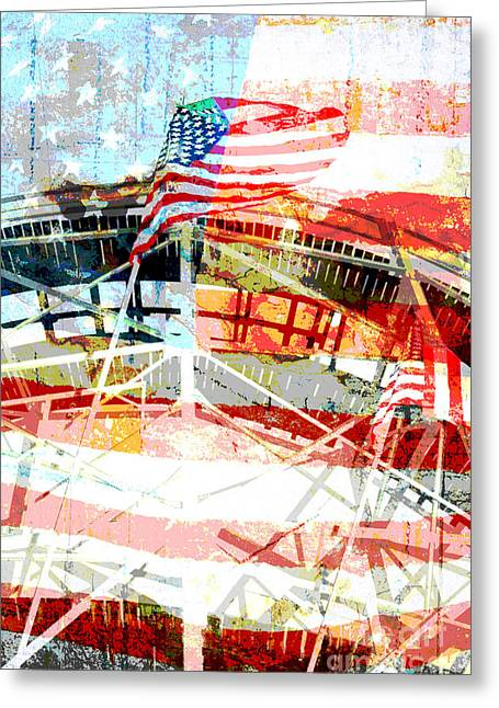 Amusements Mixed Media Greeting Cards - Roller Coaster Americana Greeting Card by adSpice Studios