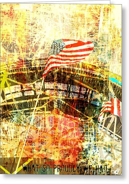 Juvenile Wall Decor Greeting Cards - Coney Island Roller Coaster Collage Americana  Greeting Card by Anahi DeCanio