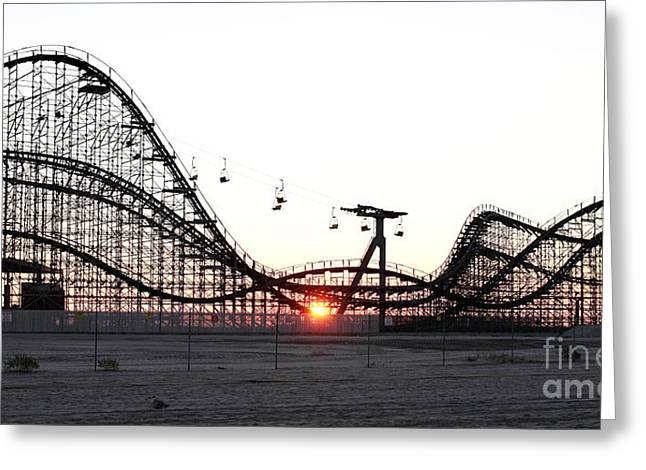 Wooden Coaster Greeting Cards - Roller Coaster Greeting Card by John Rizzuto