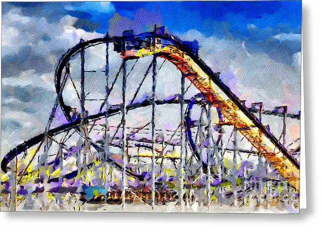 Inversion Paintings Greeting Cards - Roller coaster painting Greeting Card by Magomed Magomedagaev