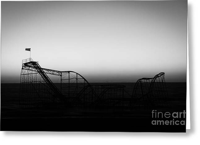 Jet Star Roller Coaster Greeting Cards - Roller Coaster silhouette black and white Greeting Card by Michael Ver Sprill