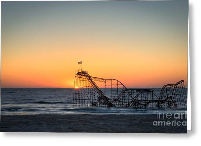 Jet Star Roller Coaster Greeting Cards - Roller Coaster Sunrise Greeting Card by Michael Ver Sprill