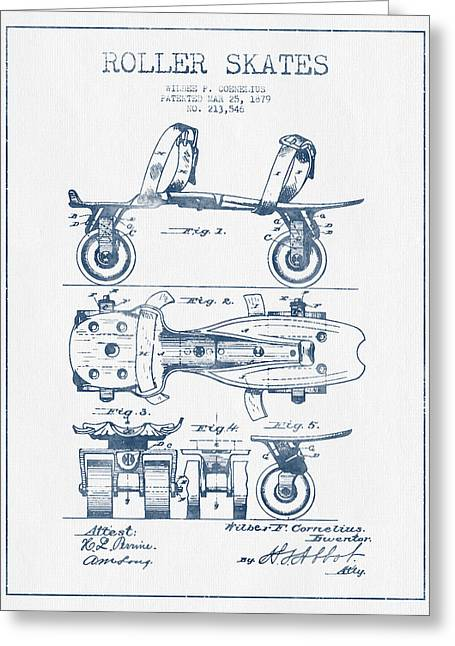 Antique Skates Greeting Cards - Roller Skate Patent Drawing from 1879  - Blue Ink Greeting Card by Aged Pixel
