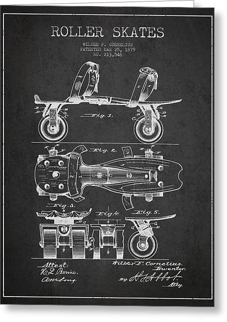 Antique Skates Greeting Cards - Roller Skate Patent Drawing from 1879 - Dark Greeting Card by Aged Pixel