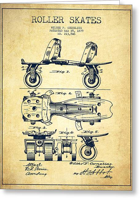 Roller Skates Greeting Cards - Roller Skate Patent Drawing from 1879 - Vintage Greeting Card by Aged Pixel