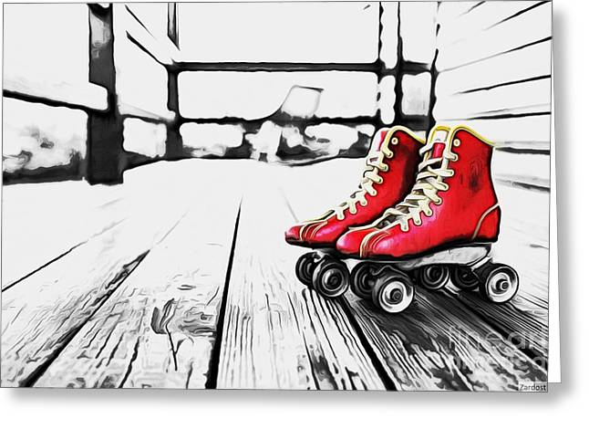 Roller Skates Digital Art Greeting Cards - Roller Skate Greeting Card by Richard Dussault