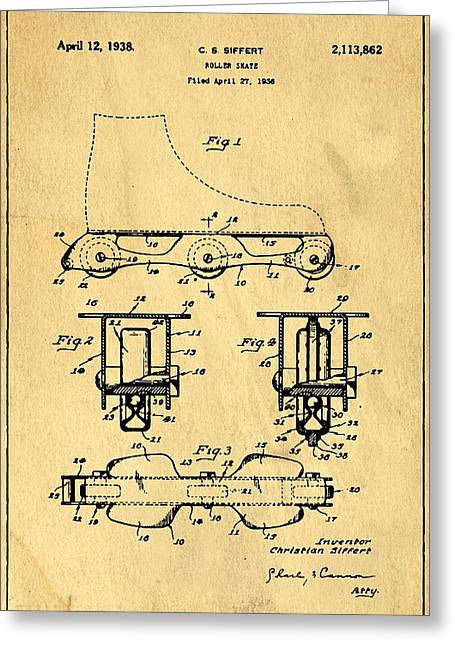 Antique Skates Greeting Cards - Roller Skate Support Patent Drawing From 1938 1 Greeting Card by Samir Hanusa