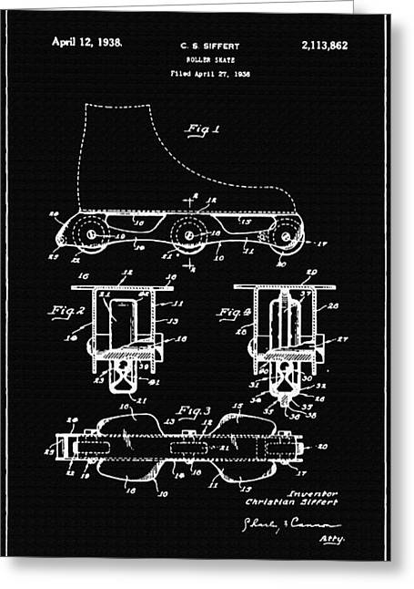 Antique Skates Greeting Cards - Roller Skate Support Patent Drawing From 1938 2 Greeting Card by Samir Hanusa