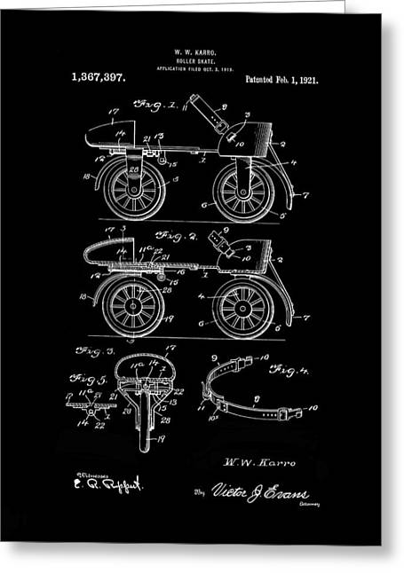 Roller Skates Digital Art Greeting Cards - Roller Skates 1820 Karro Inverted Greeting Card by Lesa Fine