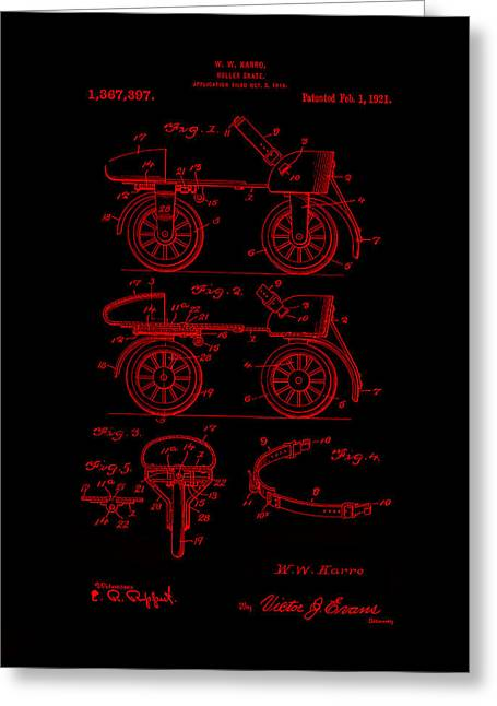Roller Skates Digital Art Greeting Cards - Roller Skates 1921 Karro Neon Red Greeting Card by Lesa Fine