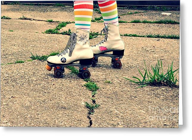 Rollerskate Greeting Cards - Roller Skates Greeting Card by Nikki Rosenberg