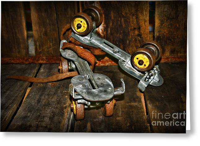 Old Skates Photographs Greeting Cards - Roller Skates Vintage 4 Greeting Card by Paul Ward
