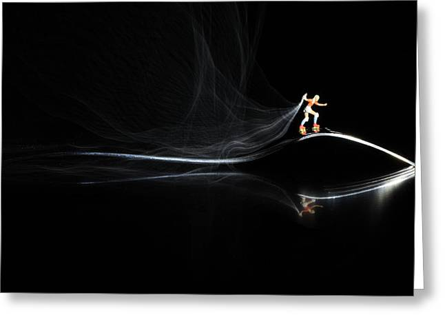 Creative People Greeting Cards - Roller skating on a fork with smoke torch Greeting Card by Paul Ge