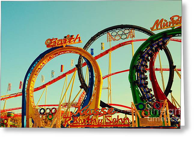 Muenchen Greeting Cards - Rollercoaster at the Octoberfest in Munich Greeting Card by Sabine Jacobs