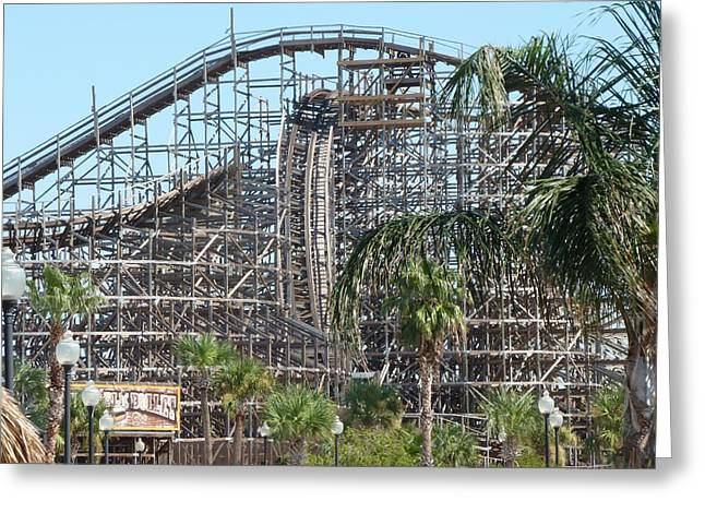 Amusements Greeting Cards - Rollercoaster Greeting Card by Eb Guenther
