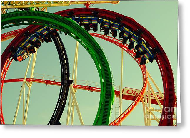 Muenchen Greeting Cards - Rollercoaster Looping at the Actoberfest in Munich Greeting Card by Sabine Jacobs