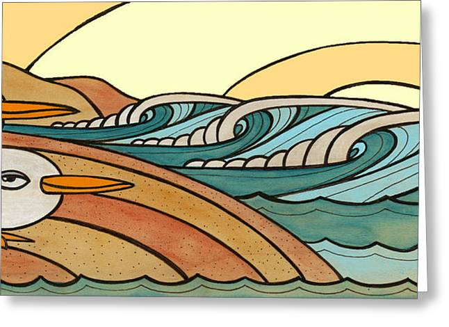 California Beaches Mixed Media Greeting Cards - Rollers at Birdy Beach Greeting Card by Joe Vickers