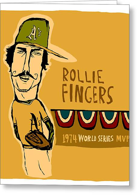 Baseball Paintings Greeting Cards - Rollie Fingers Oakland As Greeting Card by Jay Perkins