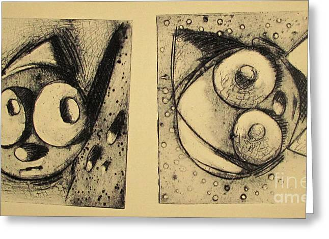 Printmaking Greeting Cards - Rollie1 and Rollie 2  archived Greeting Card by Charlie Spear