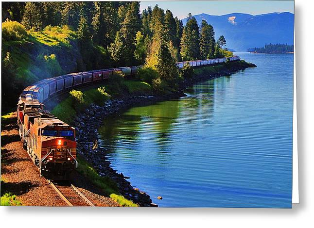 Lake Pend Oreille Greeting Cards - Rollin Round the Bend Greeting Card by Benjamin Yeager