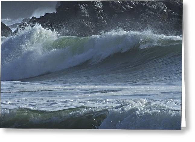 Blue Green Wave Greeting Cards - Rolling Breakers Greeting Card by Judy  Johnson