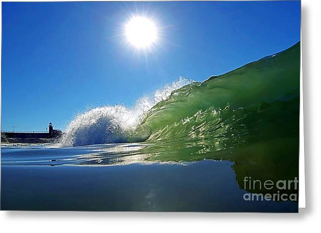 Santa Cruz Surfing Greeting Cards - Rolling Glass Greeting Card by Paul Topp