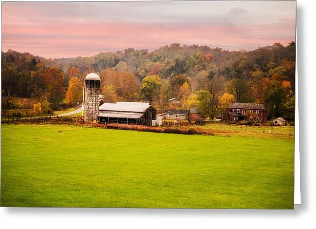 Barn Yard Greeting Cards - Rolling Hills Kentucky Farm Greeting Card by Mary Timman