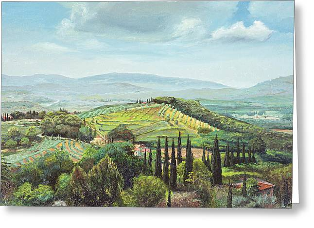 Italian Tuscan Greeting Cards - Rolling Hills, Pistoia, Tuscany Oil On Canvas Greeting Card by Trevor Neal