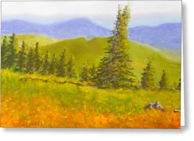 Fir Trees Pastels Greeting Cards - Rolling Hills Greeting Card by Susan Galassi