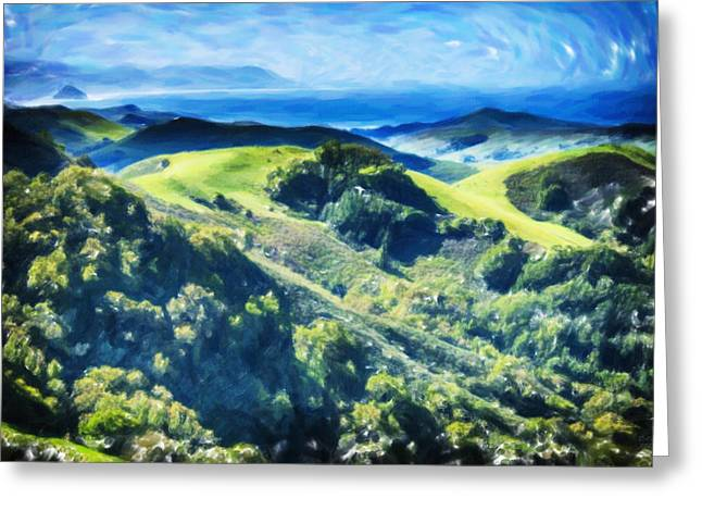 The Hills Pastels Greeting Cards - Rolling Hills to the Sea Greeting Card by David Millenheft