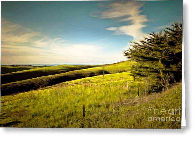 Back Roads Digital Art Greeting Cards - Rolling Landscape Hills of Point Reyes National Seashore California DSC2411brun Greeting Card by Wingsdomain Art and Photography