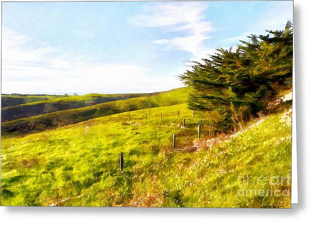 Back Roads Digital Art Greeting Cards - Rolling Landscape Hills of Point Reyes National Seashore California DSC2411wc Greeting Card by Wingsdomain Art and Photography