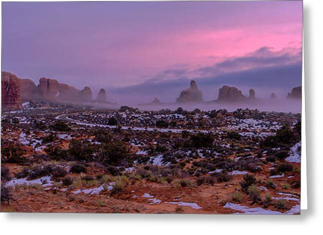 Through Greeting Cards - Rolling Mist Through Arches Greeting Card by Chad Dutson