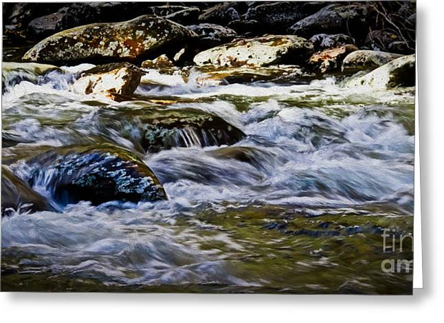 Babbling Greeting Cards - Rolling River Greeting Card by Tom Gari Gallery-Three-Photography
