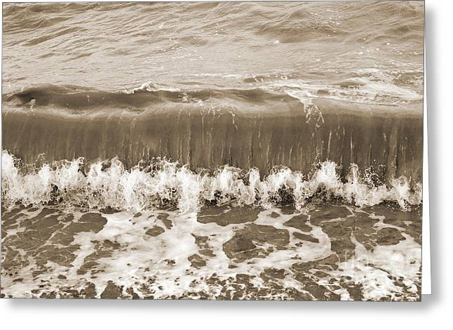 Lounge Digital Art Greeting Cards - Rolling Sea Wave - Sepia Greeting Card by Natalie Kinnear