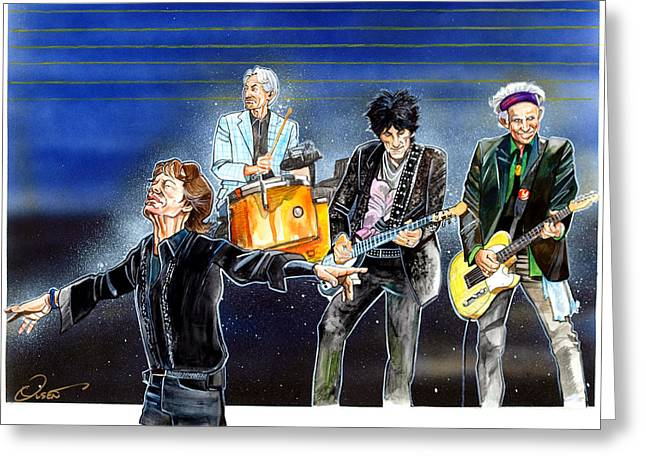 Td Garden Drawings Greeting Cards - Rolling Stones at T D Garden Greeting Card by Dave Olsen