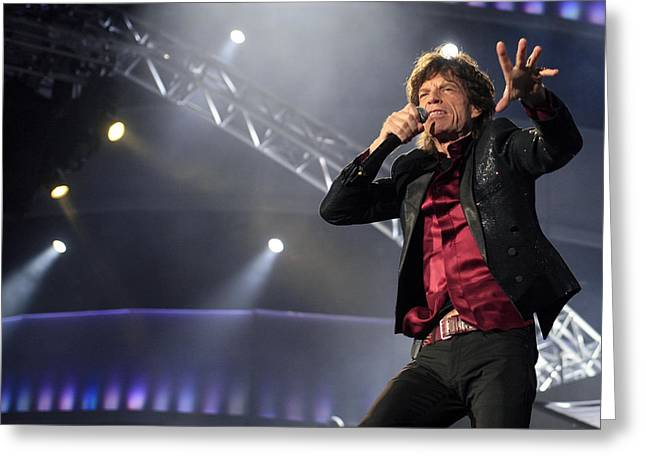 Rolling Stones Greeting Cards - Rolling Stones Concert Greeting Card by Rafa Rivas